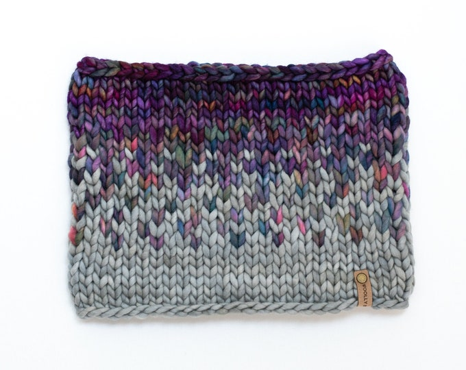Gray and Multi Color Merino Wool Fair Isle Knit Cowl   Women's Chunky Knit Cowl   Sunrise Cowl