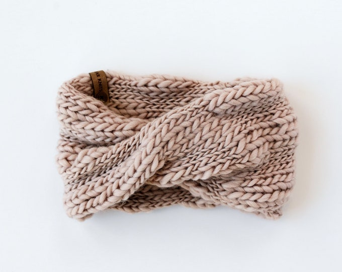 Pearl Gray Textured Wool Knit Headband | Mauve Knit Earwarmer | Twisted Knit Turban Headband | Ethically Sourced Wool Hand Knit Headband