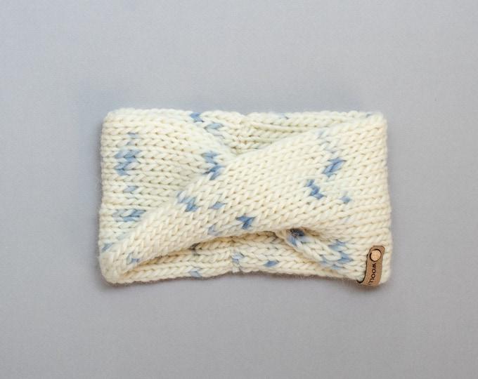 Ivory & Blue Sprinkle Wool Knit Headband | Speckle Knit Earwarmer | Twisted Knit Turban Headband | Ethically Sourced Wool Hand Knit Headband