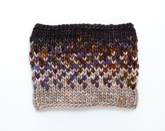 Gray and Multicolor Merino Wool Fair Isle Knit Cowl | Women's Chunky Knit Cowl | Sunrise Cowl