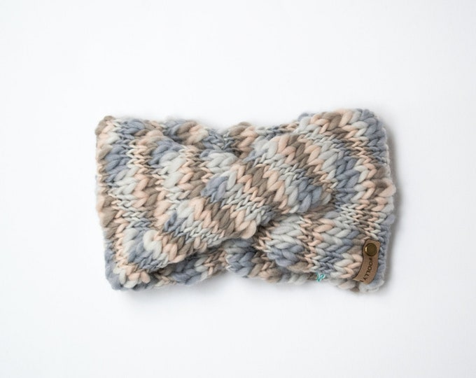 Multi Color Gray Textured Wool Knit Headband | Knit Earwarmer | Twisted Knit Turban Headband | Ethically Sourced Wool Hand Knit Headband