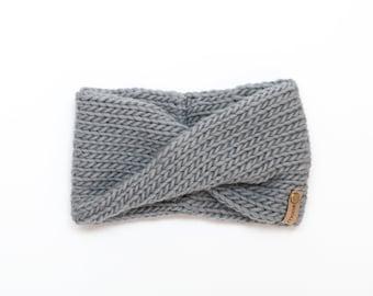 Gray Wool Knit Headband | Gray Knit Earwarmer | Twisted Knit Turban Headband | Ethically Sourced Wool Hand Knit Headband