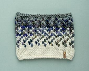 White and Gray Merino Wool Fair Isle Knit Cowl   Women's Chunky Knit Cowl   Sunrise Cowl