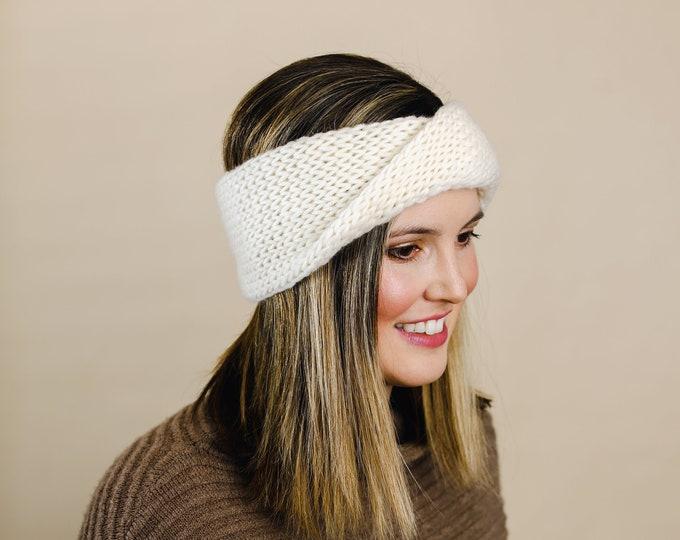 Ivory Wool Knit Headband | Ivory Knit Earwarmer | Twisted Knit Turban Headband | Ethically Sourced Wool Hand Knit Headband