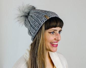 Gray Merino Wool Knit Hat with Faux Fur Pom Pom | Women's Luxury Chunky Knit Pom Pom Beanie | Ethically Sourced Wool Hat
