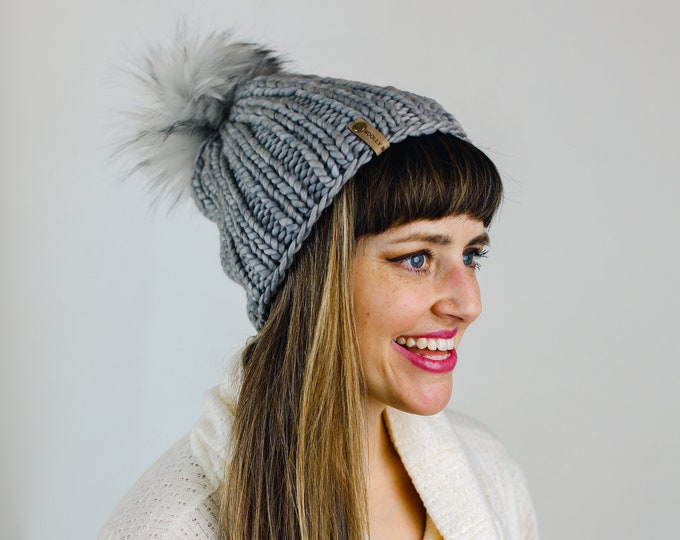 Gray Merino Wool Knit Hat with Faux Fur Pom Pom | Women's Luxury Chunky Knit Pom Pom Beanie | Ethically Sourced Wool Hat