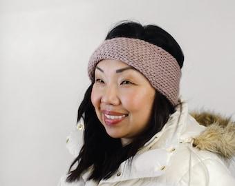 Mauve Wool Knit Headband | Mauve Knit Earwarmer | Twisted Knit Turban Headband | Ethically Sourced Wool Hand Knit Headband
