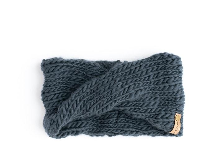 Gray Textured Wool Knit Headband | Gray Knit Earwarmer | Twisted Knit Turban Headband | Ethically Sourced Wool Hand Knit Headband