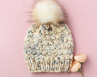 Beige Speckle Merino Wool Knit Hat with Faux Fur Pom Pom   Women's Luxury Chunky Knit Pom Pom Beanie   Hand Dyed Merino Wool Hat