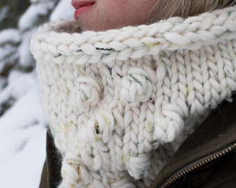 Knit Bobble Cowl | Luxury Knit Circle Scarf | Women's Knit Cowl
