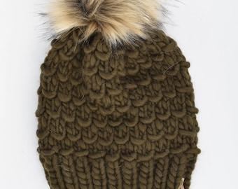 Olive Green Peruvian Wool Knit Hat with Faux Fur Pom Pom | Women's Chunky Knit Pom Pom Beanie | Ethically Sourced Wool Hat | Hand Knit Hat
