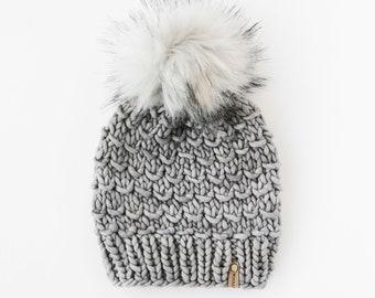 Gray Merino Wool Knit Hat with Faux Fur Pom Pom | Women's Luxury Chunky Knit Pom Pom Beanie | Ethically Sourced Wool Hand Knit Hat