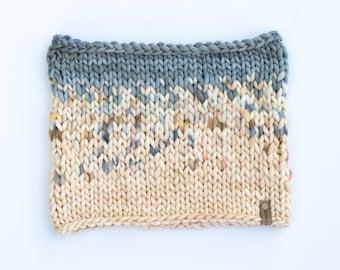 Gray and Ivory Merino Wool Fair Isle Knit Cowl   Women's Chunky Knit Cowl   Sunrise Cowl