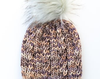Mauve Speckle Merino Wool Knit Hat with Faux Fur Pom Pom | Spindrift Beanie with Hand-Dyed Yarn | Luxury Knit Merino Wool Beanie