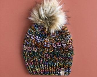 Brown Multi Merino Wool Knit Hat with Faux Fur Pom Pom   Women's Luxury Chunky Knit Pom Pom Beanie   Ethically Sourced Wool Hat