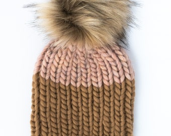 Pink and Brown Colorblock Peruvian Wool Knit Hat with Faux Fur Pom Pom   Women's Chunky Knit Pom Pom Beanie   Ethically Sourced Wool Hat
