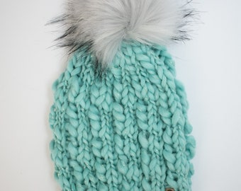 Hand Spun Wool Knit Hat with Faux Fur Pom Pom | Multiple Colors Available