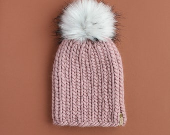 Mauve Peruvian Wool Knit Hat with Faux Fur Pom Pom   Women's Chunky Knit Pom Pom Beanie   Ethically Sourced Wool Hat   Hand Knit Hat