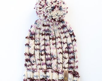 Merino Wool White Spotted Cable Knit Hat   The Seaspray Beanie   Women's Luxury Handknit Wool Hat   Ethically Sourced Wool