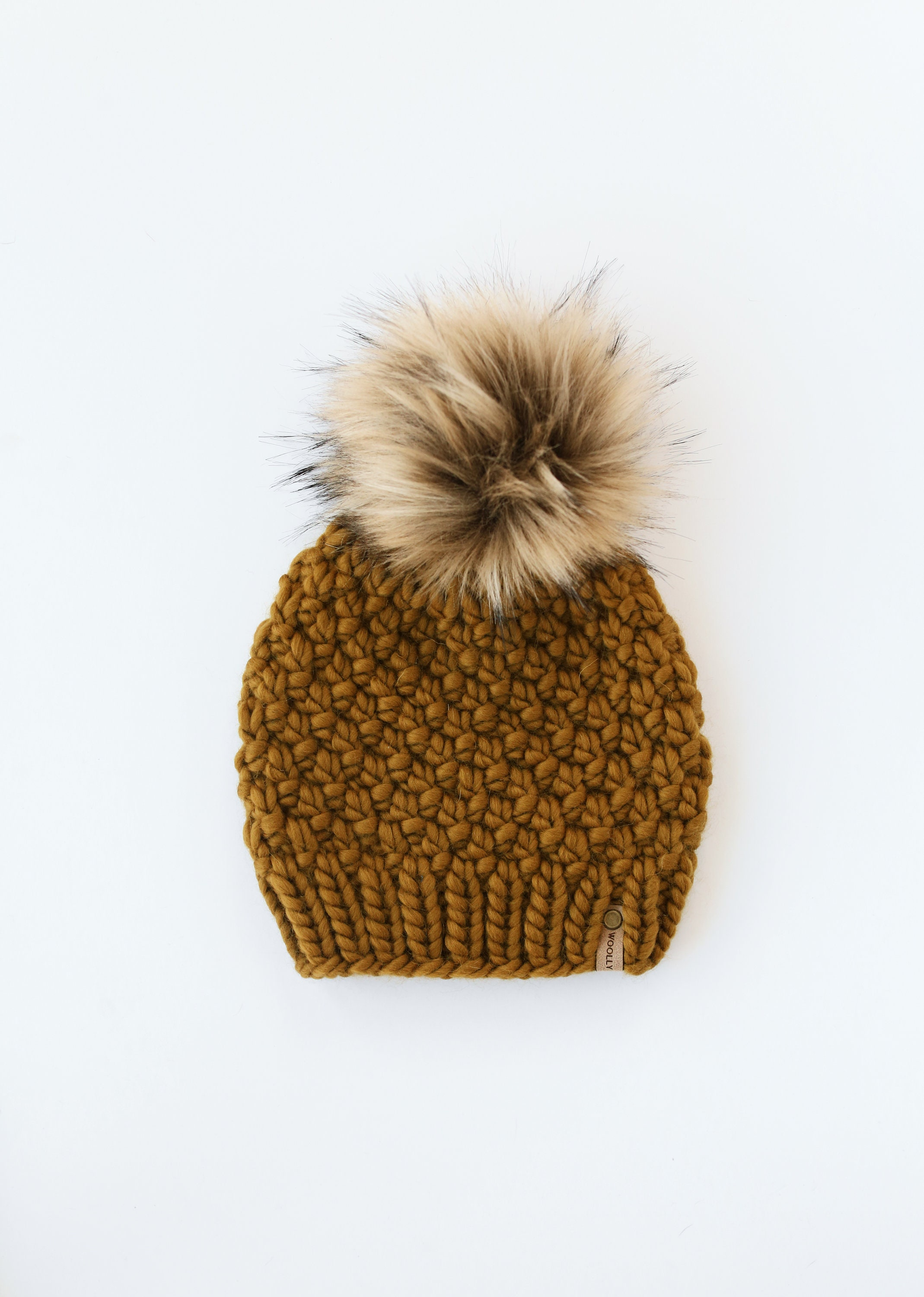 Chunky hand knit gold hat with matching pom