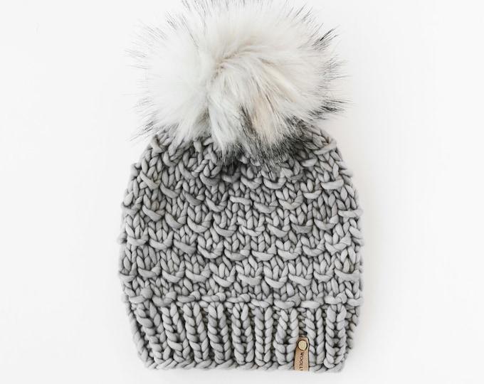 Gray Merino Wool Knit Hat with Faux Fur Pom Pom, Women's Chunky Knit Pom Pom Beanie, Ethically Sourced Eco-Friendly Wool Hat, Hand Knit Hat