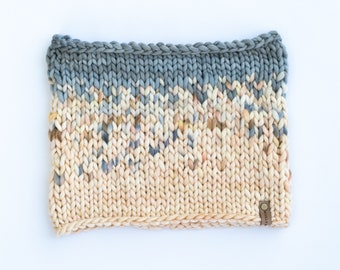 Gray and Ivory Merino Wool Fair Isle Knit Cowl | Women's Chunky Knit Cowl | Sunrise Cowl