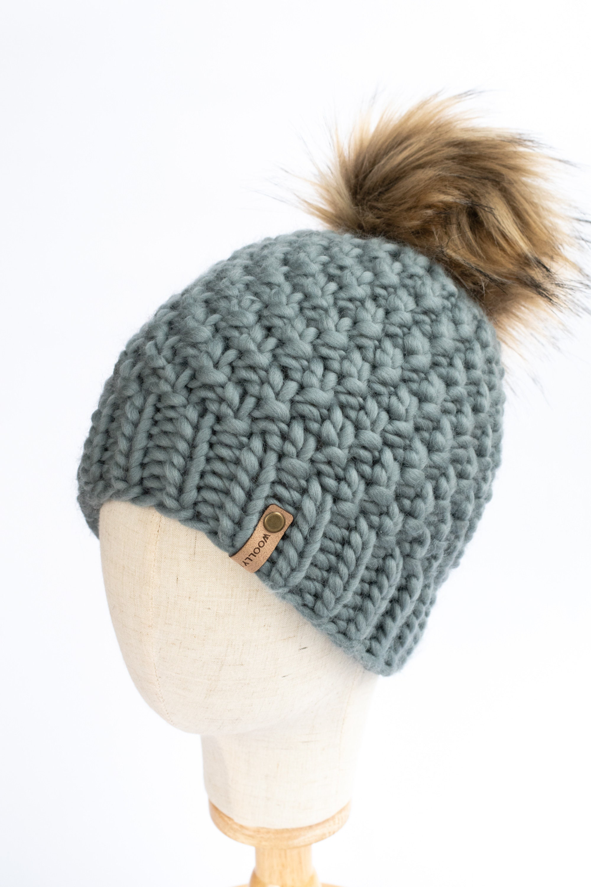 Women/'s blue handmade gray and brown knitted hat with gray pompom -handmade grey and brown with grey pompom Women/'s hat knitted blue