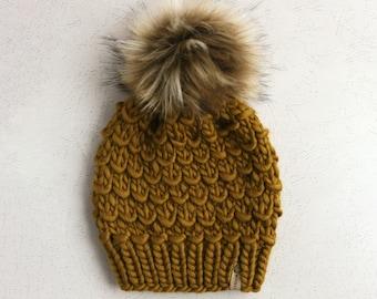 Bronzed Olive Peruvian Wool Knit Hat with Faux Fur Pom Pom, Women's Chunky Knit Pom Pom Beanie, Ethically Sourced Wool Hat, Hand Knit Hat