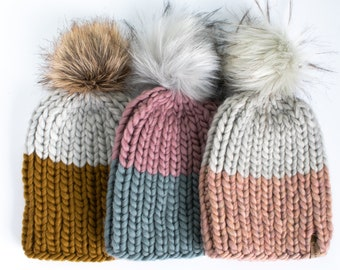Child and Toddler Size Ribbed Knit Colorblock Peruvian Wool Hat | Children's Chunky Knit Hat | Toddler Kids Winter Knit Hat