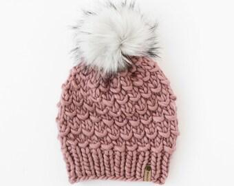 Mauve Peruvian Wool Knit Hat with Faux Fur Pom Pom, Women's Chunky Knit Pom Pom Beanie, Ethically Sourced Wool Hat, Hand Knit Hat