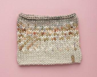 Gray and Beige Merino Wool Fair Isle Knit Cowl | Women's Chunky Knit Cowl | Sunrise Cowl