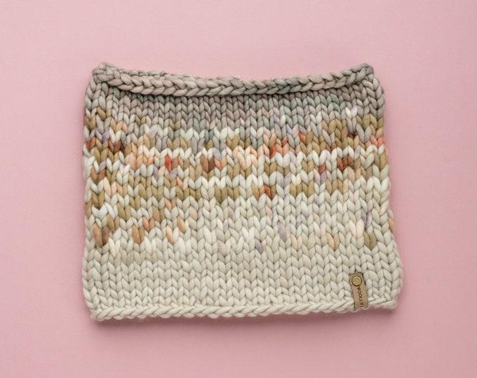 Gray and Beige Merino Wool Fair Isle Knit Cowl   Women's Chunky Knit Cowl   Sunrise Cowl
