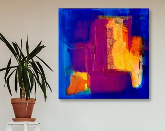 Colour-intensive luminous abstract acrylic painting + silk paper on canvas • 60 x 60 cm • blue violet purple orange yellow green