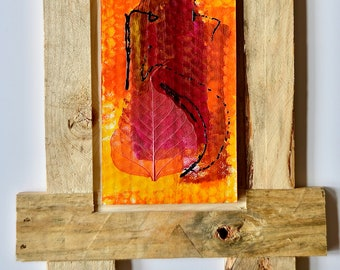 Original acrylic painting and decorative leaf on honeycomb board with frame made of pallet boards 2 • magenta pink orange yellow black • 34 x 50 cm
