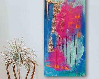 Modern abstract acrylic collage on XL canvas • 50 x 100 x 5 cm • Pigments, acrylic paints, creative papers • Blue Magenta Turquoise Orange
