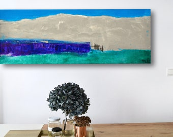 Abstract landscape with gesso, acrylic paints, silk paper & charcoal on canvas • 95 x 35 cm • blue grey purple green