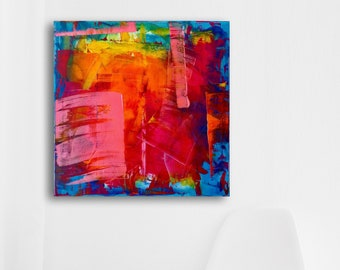Colorful free modern abstract acrylic painting on canvas • 60 x 60 cm • red purple orange metallic pink yellow green blue
