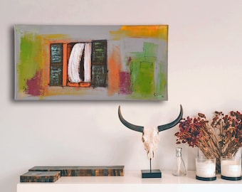 Collage with open window: fine art print, acrylic paints & charcoal on canvas, 60 x 30 cm, grey green orange black white