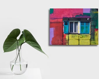 Small colorful collage: truss window shutters, fine art print acrylic paint silk paper charcoal on canvas 40 x 30 cm, yellow green red violet