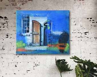 Atmospheric collage door/window picture: fine art print, acrylic paints & charcoal on jute canvas, 46 x 38 cm, blue orange yellow white brown black