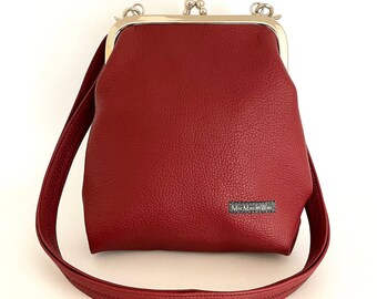 Small ironing bag| Imitation leather| Buffalo leather look| waterproof| Shoulder bag| Handbag| Shoulder bag| Pocket hanger| Ladies| Bordeaux