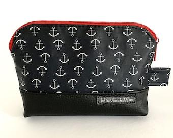 Cosmetic bag| waterproof| small| maritim| Zipper| lined|  Anker Black