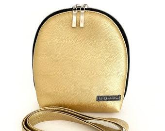 Shoulder bag| Shoulder bag| Handbag| Evening bag| Belly bag| Belt bag| small| petite| Ladies| convertible| MicMachtWhat| Gold
