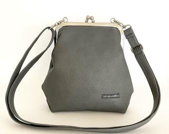 Small ironing bag| Imitation leather| Buffalo leather look| waterproof| Shoulder bag| Handbag| Shoulder bag| Pocket hanger| Ladies| Basalt grey