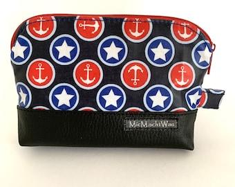 Cosmetic bag| waterproof| small| maritim| Zipper| lined|  Anchor Star Black