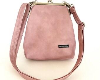 Small ironing bag| Imitation leather| Buffalo leather look| waterproof| Shoulder bag| Handbag| Shoulder bag| Pocket hanger| Ladies| Rosé