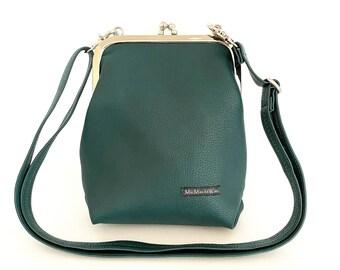 Small ironing bag| Imitation leather| Buffalo leather look| waterproof| Shoulder bag| Handbag| Shoulder bag| Pocket hanger| Ladies| Teal