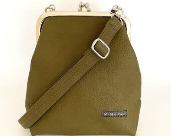 Small ironing bag| Imitation leather| Buffalo leather look| waterproof| Shoulder bag| Handbag| Shoulder bag| Pocket hanger| Ladies| Olive