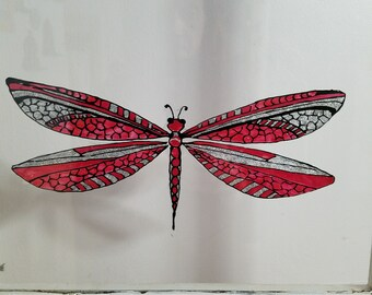 7e30cfb5a378 Red dragonfly | Etsy