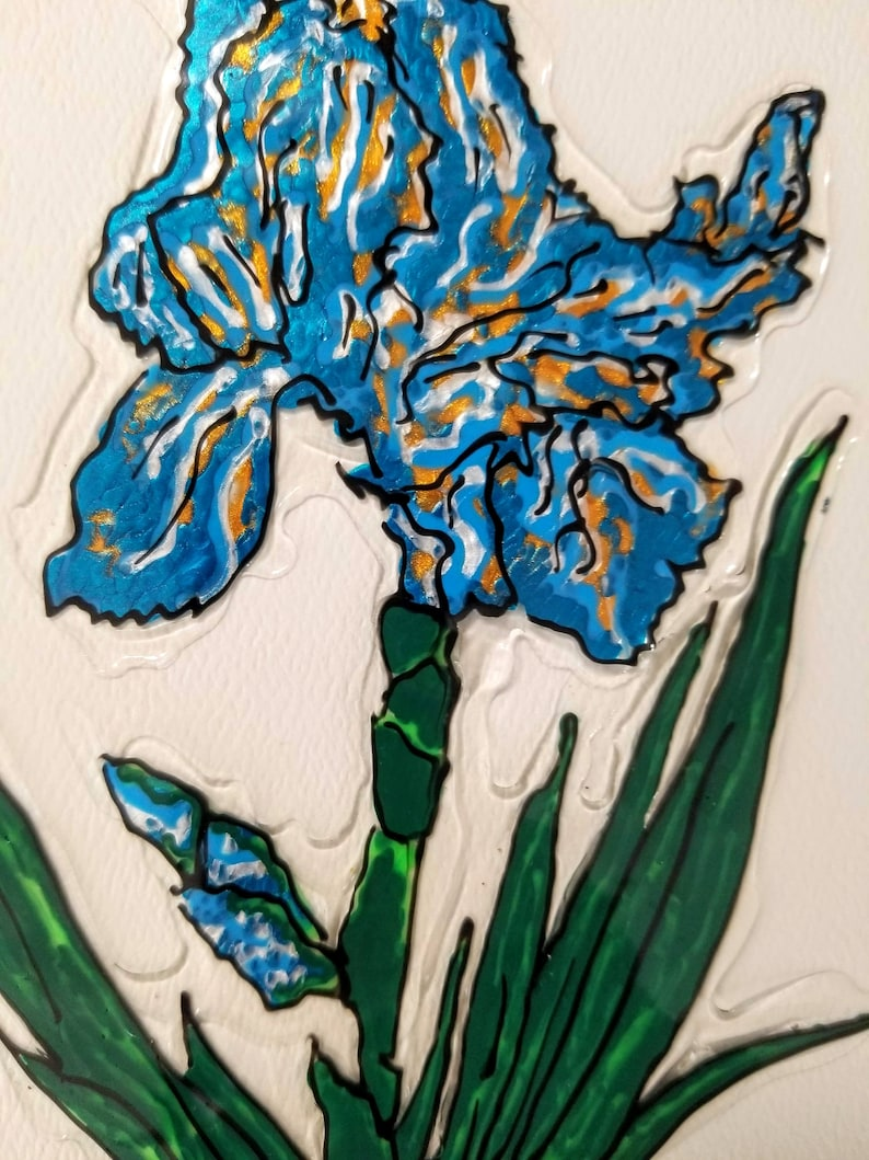 Hand Painted Stained Glass art clingdecal Blue Iris in Silver Pitcher